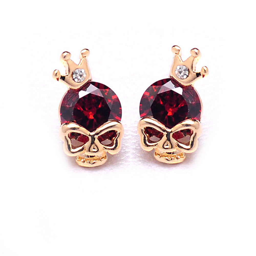 Stud earrings red rhinestone gold tone  crown skull stud earrings - Pendants and Charms