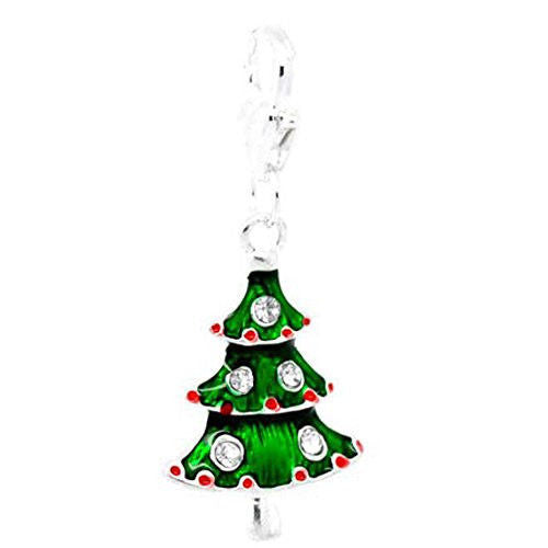 Green silver Christmas tree clip on Bead for Charm Bracelets Charms necklace floating charms - Pendants and Charms