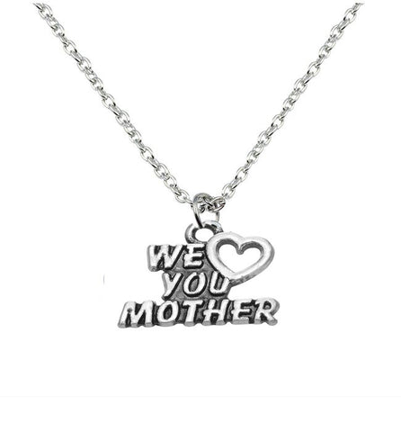 We love you Mother necklace silver  tone mum Short Pendant Necklace - Pendants and Charms