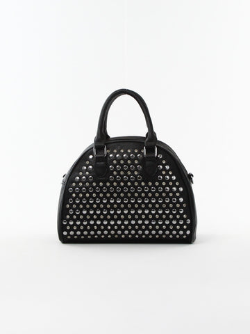 Studded Round Satchel - D0157 BK - Focus Handbags - 1