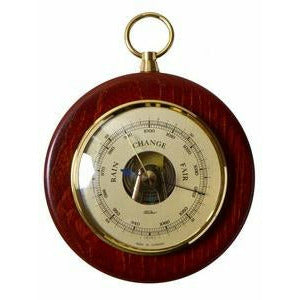 Small wooden wall hung barometer