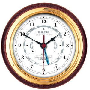 Tide clock mahogany and brass