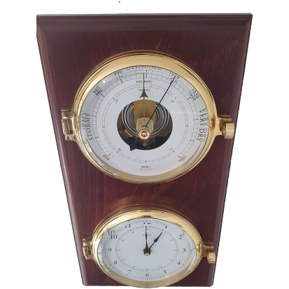 Nautical Brass Barometer & Clock on Mahogany Case