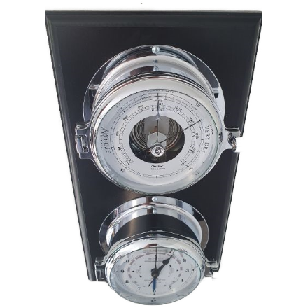 Impressive Solid Nautical Chrome Barometer & Tide Clock