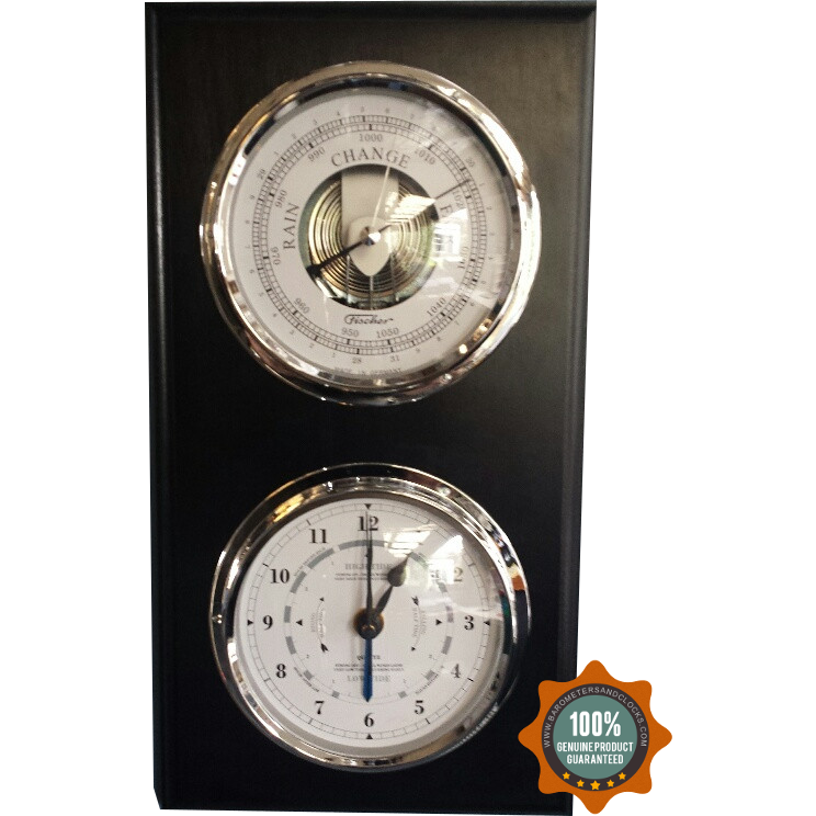 Modern Black Virtical Chrome Barometer & Tide Clock Combo