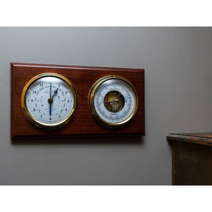 Mahogany and Brass Barometer & Tide Clock made in Germany