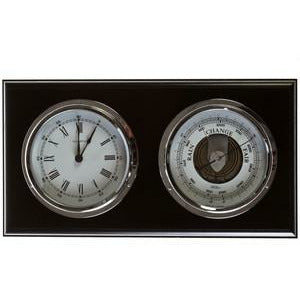 Black and Chrome  Barometer & Clock
