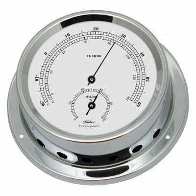 small chrome thermometer & hygrometer