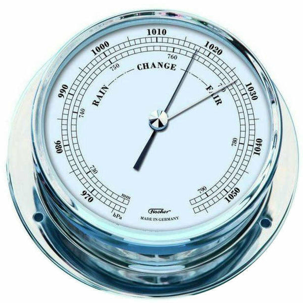 Nautical navigator chrome barometer made by fischer 1610b for Barometer and fishing