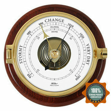 Nautical Mahogany and Brass Fischer Barometer Pascal