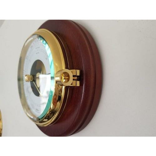 Nautical Mahogany & Brass Barometer