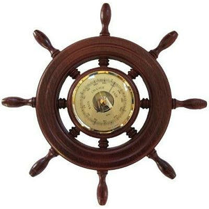 Ships Wheel Mahogany and Brass Fischer Barometer