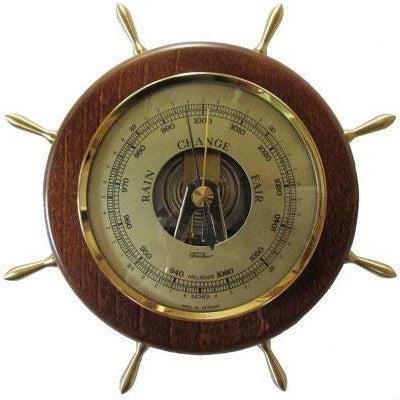 Wooden ships wheel barometer