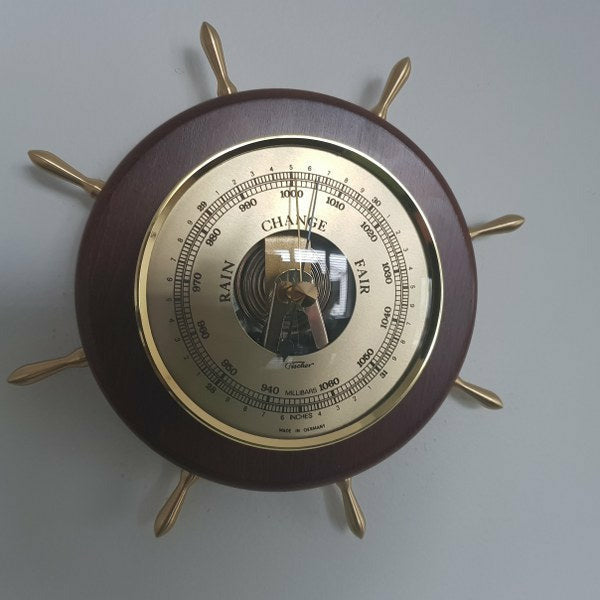 Ships Wheel Mahogany and Brass Fischer Barometer Pascal