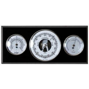 Modern Black and Chrome Wooden Weather Station 9103S-06