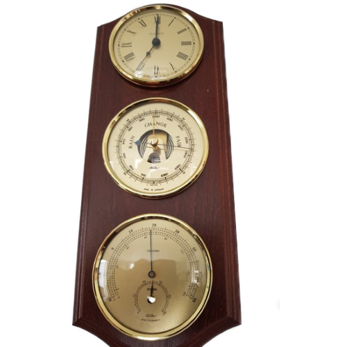 Wooden weather station with clock