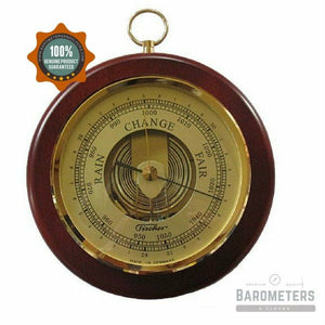 Wall mounted round barometer with brass hoop