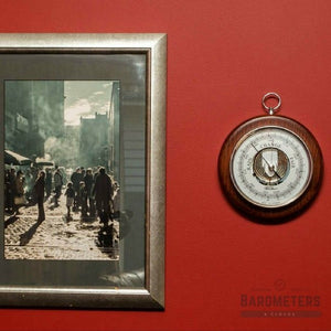 Wall Mounted Round Barometer & Brass Hoop