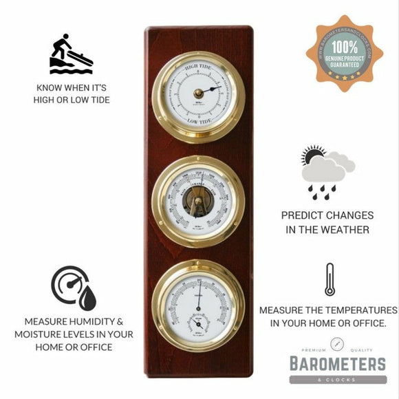 Fischer Mahogany Wooden Weatherstation & Tide Clock combo 1538TD-22
