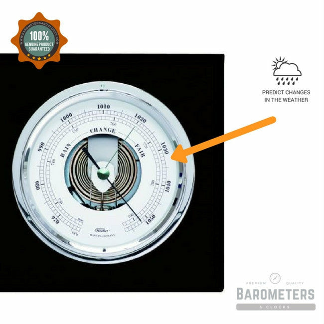 Modern black and chrome barometer tide clock pascal for Barometer and fishing