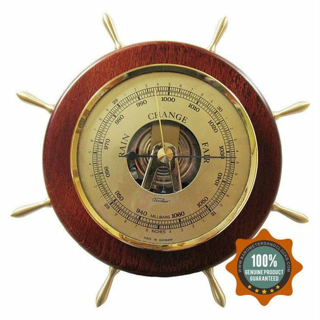 Ships Wheel Mahogany and Brass Fischer Barometer Pascal 1768-22