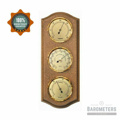 Stylish Wall Mounted Rustic Oak and Brass Instrument Weather-Station