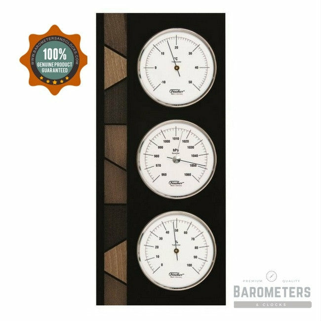 Stylish Wooden and Chrome Instrument Weather Station  9171-06