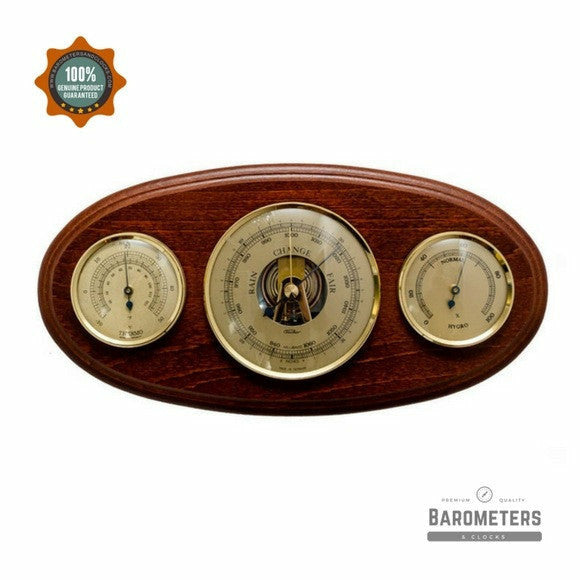 Wooden Oval Mahogany Weather Station