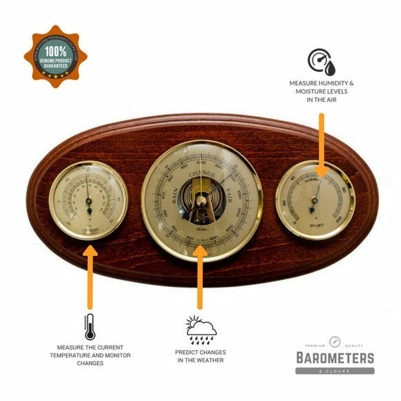 Wooden Oval Mahogany Weather Station 9160-22