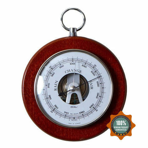 Mahogany and Chrome Fischer Barometer Pascal 1366RS-22