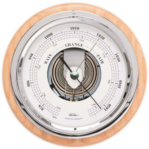 Modern  Wood and Chrome Fischer Barometer