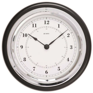 Quartz Clock , Black & Chrome