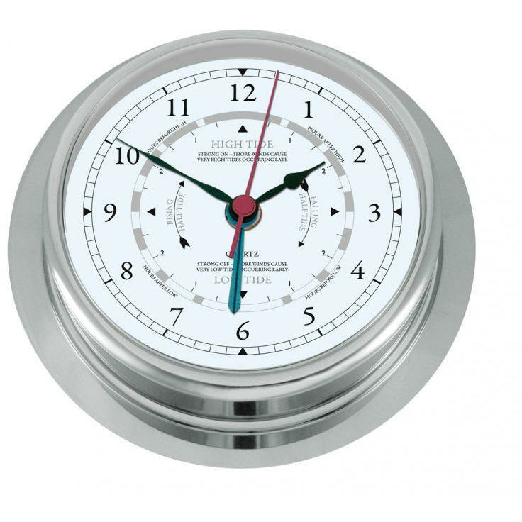 large chrome tide clock