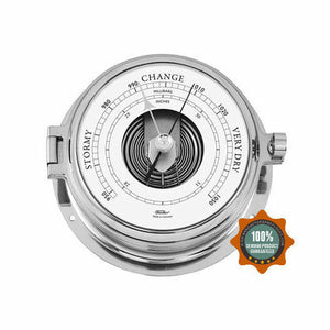 Solid nautical chrome barometer