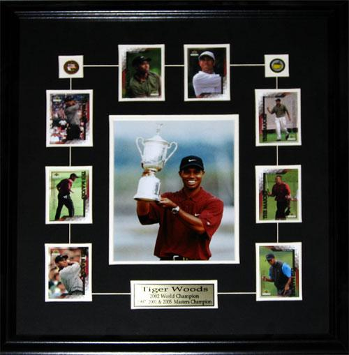 Tiger Woods PGA Golf 8x10 with Cards Collector Memorabilia Collector Frame