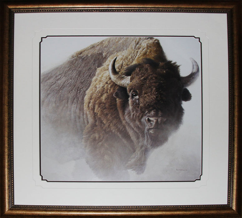 Chief American Bison Buffalo by Robert Bateman Wildlife Fine Art Print in Deluxe Frame Finish