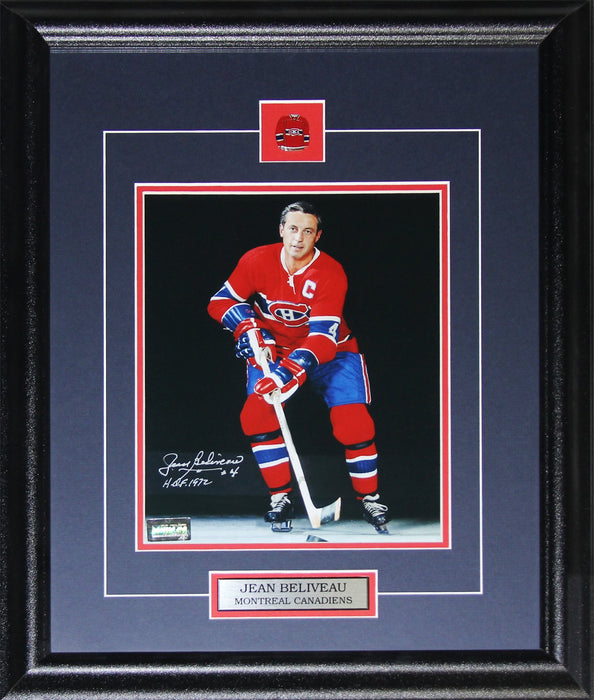 Jean Beliveau Montreal Canadiens NHL Hockey Sports Memorabilia Collector Signed 8x10 Frame (Dark)