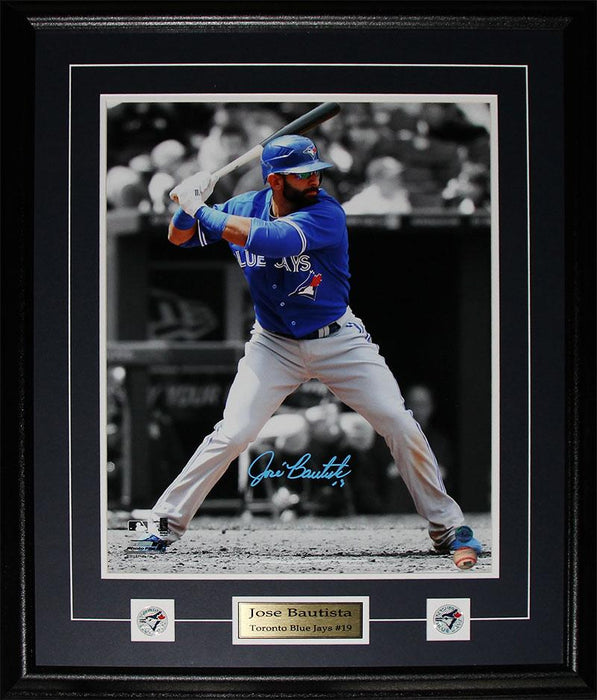 Jose Bautista Toronto Blue Jays Signed 16x20 MLB Baseball Collector Frame