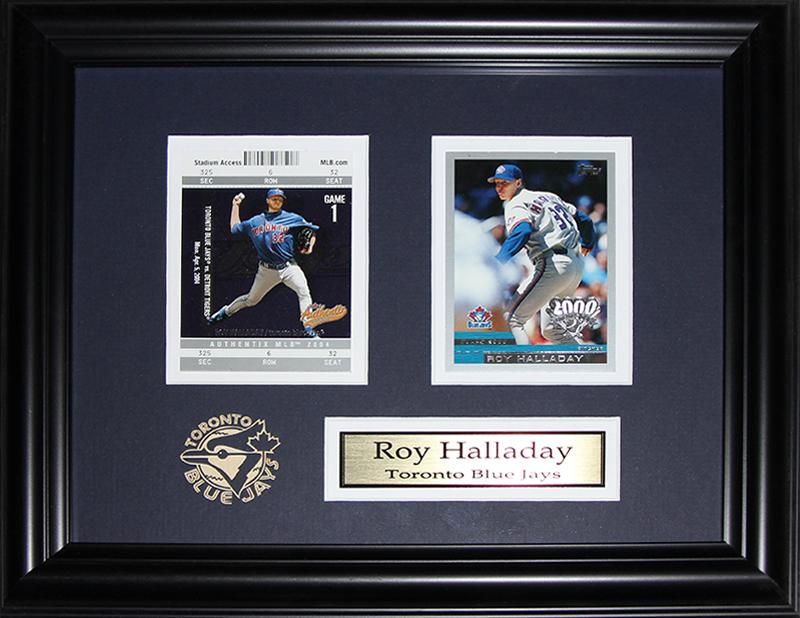 Roy Halladay Toronto Blue Jays 2 Card MLB Baseball Memorabilia Collector Frame