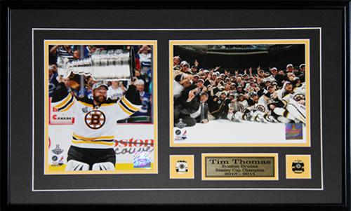 Tim Thomas Boston Bruins Stanley Cup 2 Photo NHL Hockey Collector Frame