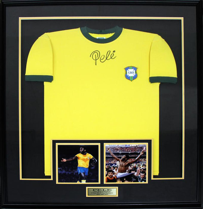 Pele Team Brazil FIFA World Cup Soccer Football Signed Jersey Collector Frame