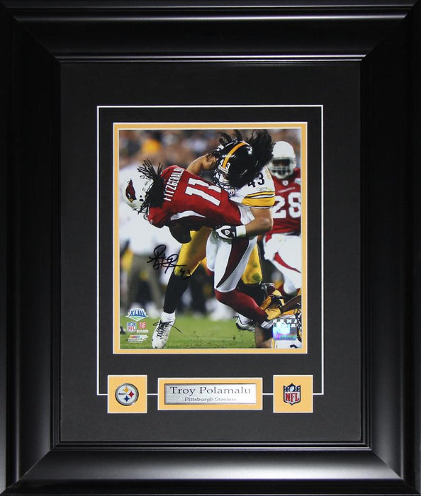 Troy Polamalu Pittsburgh Steelers Signed 8x10 NFL Football Collector Frame