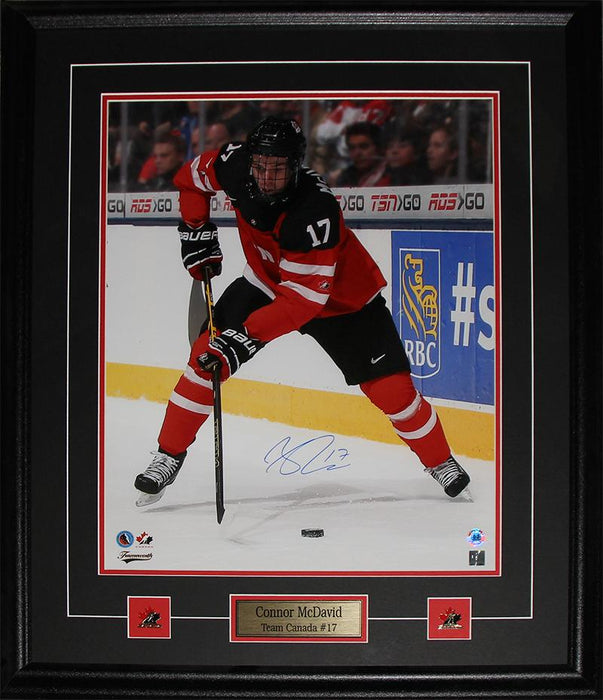 Connor McDavid Team Canada Hockey Juniors Signed 16x20 Collector Frame