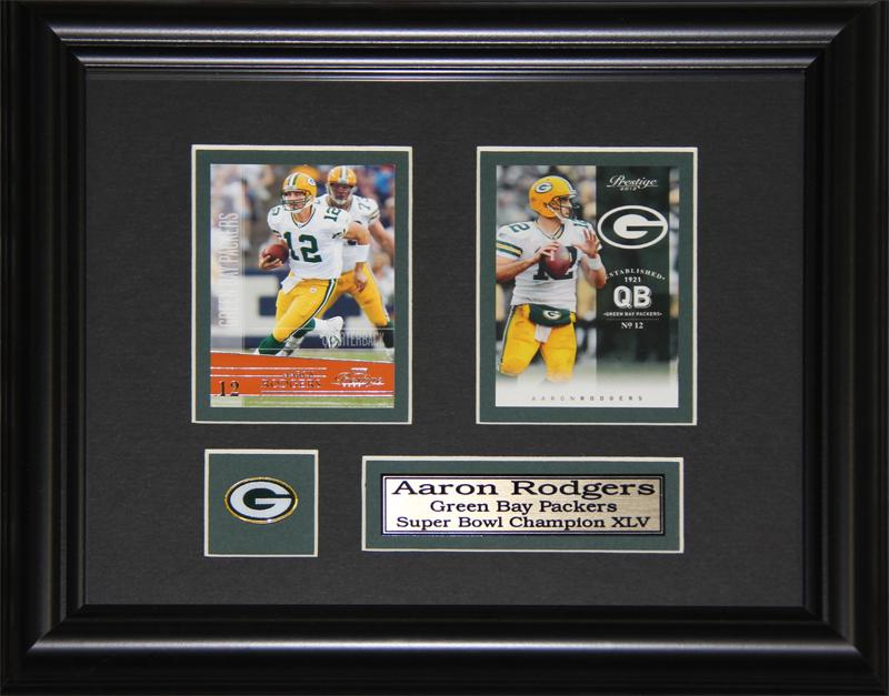 Aaron Rodgers Green Bay Packers 2 Card NFL Football Memorabilia Collector Frame