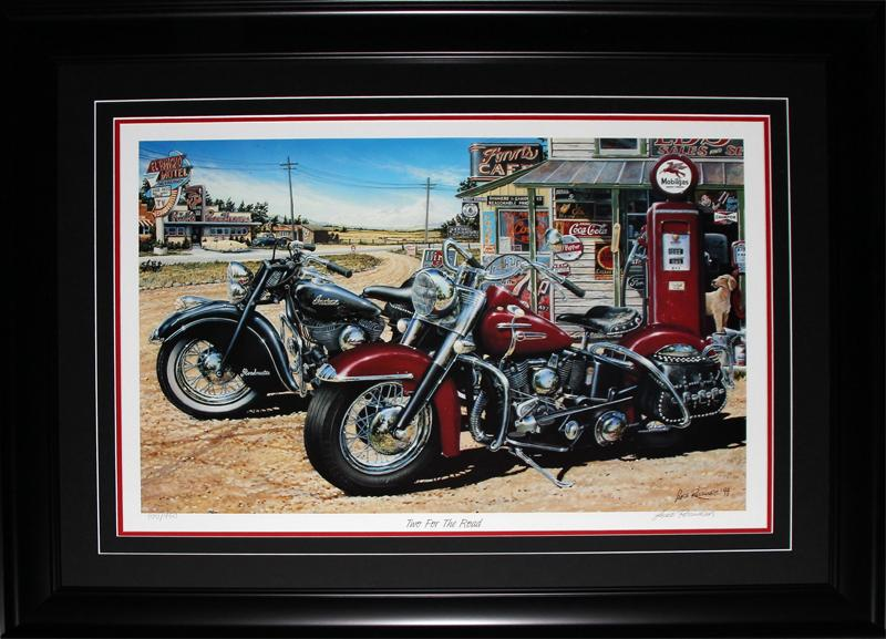 Two For the Road by Lance Russwurm Harley Davidson Indian Motorcycle Art Print Frame