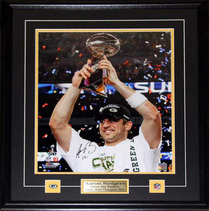 Aaron Rodgers Green Bay Packers Signed 16x20 NFL Football Collector Frame