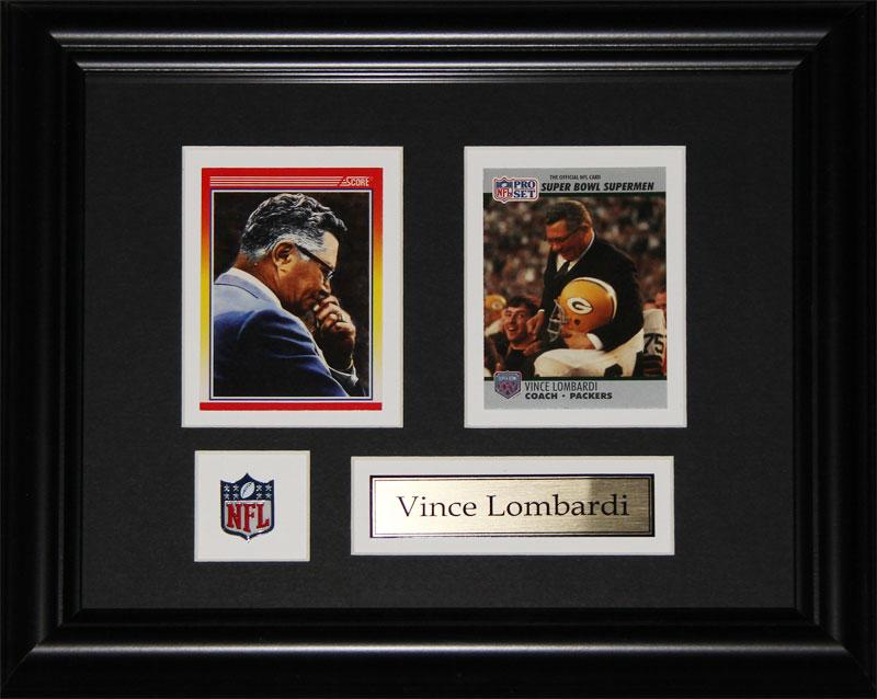 Vince Lombardi Green Bay Packers 2 Card NFL Football Memorabilia Collector Frame