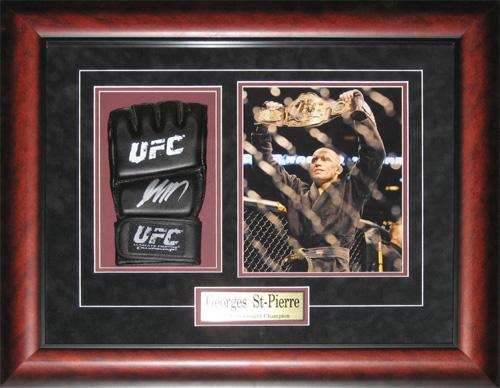 Georges St-Pierre Signed UFC MMA Mixed Martial Arts Glove Collector Frame