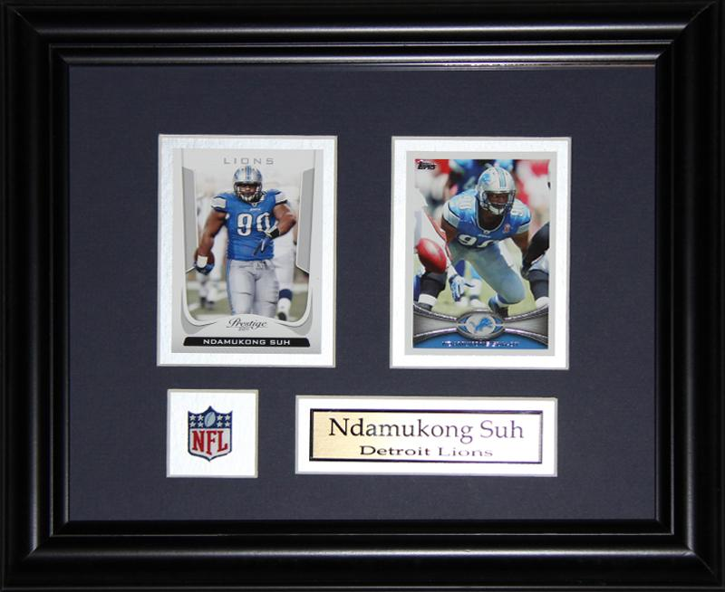 Ndamukong Suh Detroit Lions 2 Card NFL Football Memorabilia Collector Frame