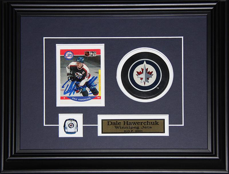 Dale Hawerchuk Winnipeg Jets Signed Card with puck NHL Hockey Collector Frame